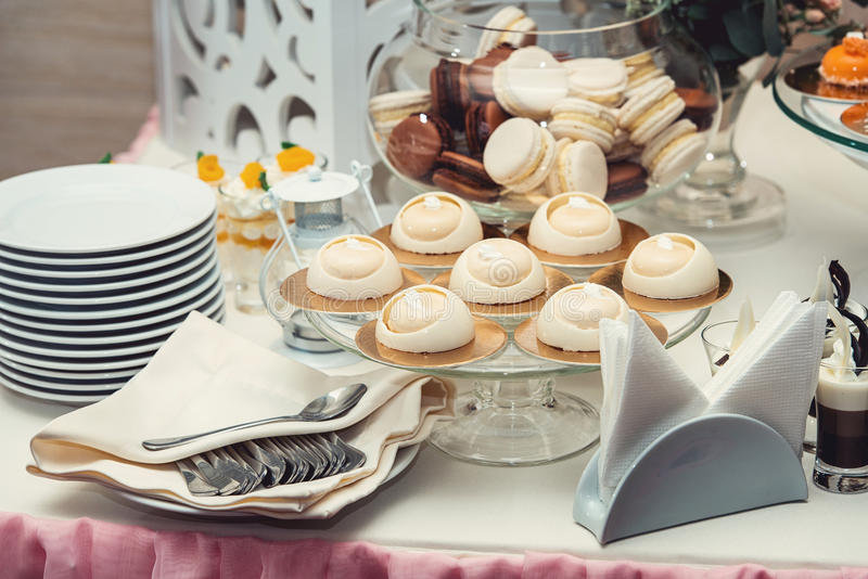 Modern stylish luxury wedding candy bar. a wide range of sweets on a wedding cande bar. stock photography