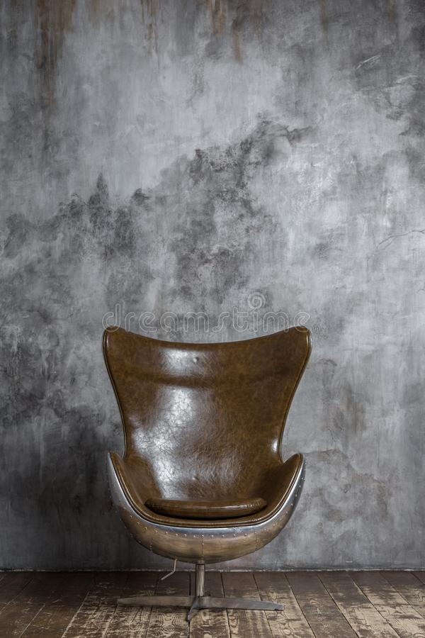 Modern stylish metall and leather chair royalty free stock images