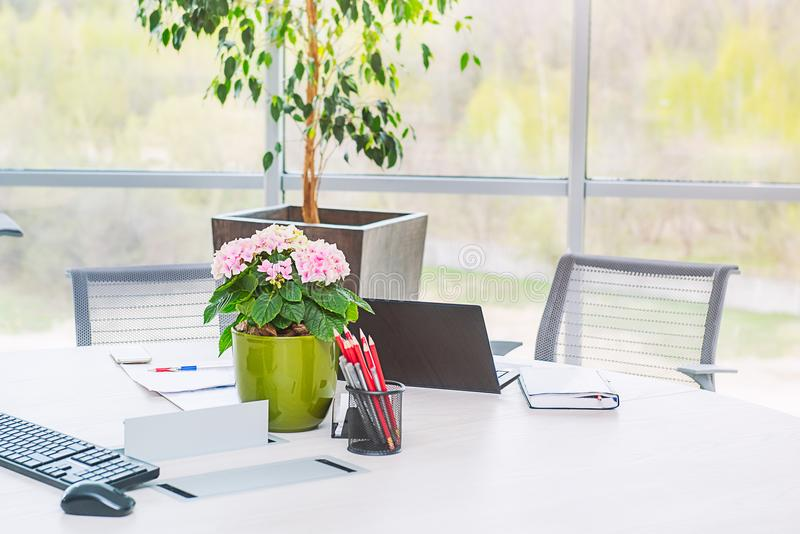 Modern stylish office work place near big window. Laptop, notebook, stationery, keyboard and flower pot on the desk at coworking e royalty free stock photo