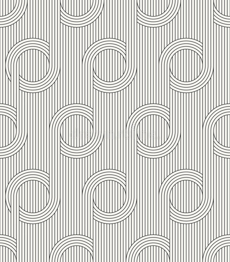 Modern stylish outlined fabric texture with structure of repeating vertical lines and circles. Vector seamless pattern. Modern stylish outlined fabric texture vector illustration
