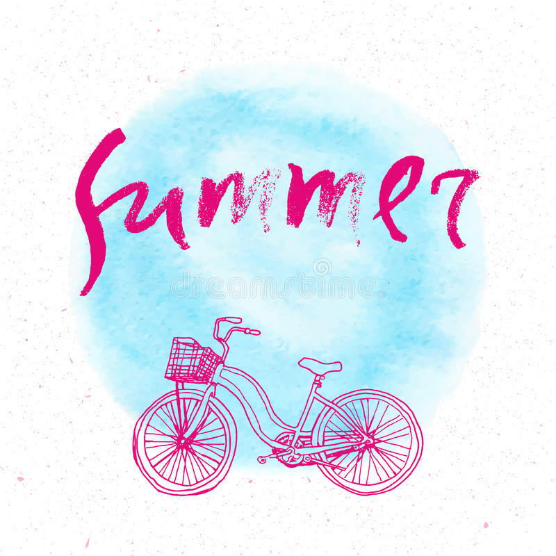 Modern and stylish typographic design poster. Hand lettered text Summer on a background of neon blue brush stroke. Retro cool lettering royalty free illustration