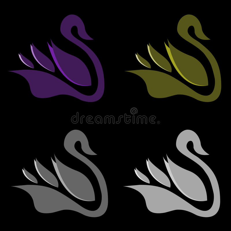 Modern Stylish Vector Swan Logo stock images