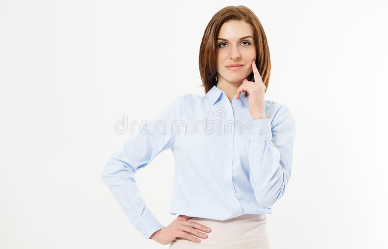 Modern successful girl holds hand on belt and touches chin - Confident young manager on white background royalty free stock photos
