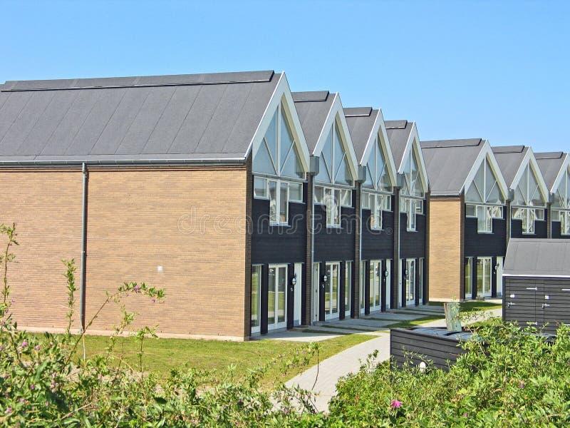 Modern summerhouses Denmark. Modern design beach summer houses Assens Marina Denmark stock photo