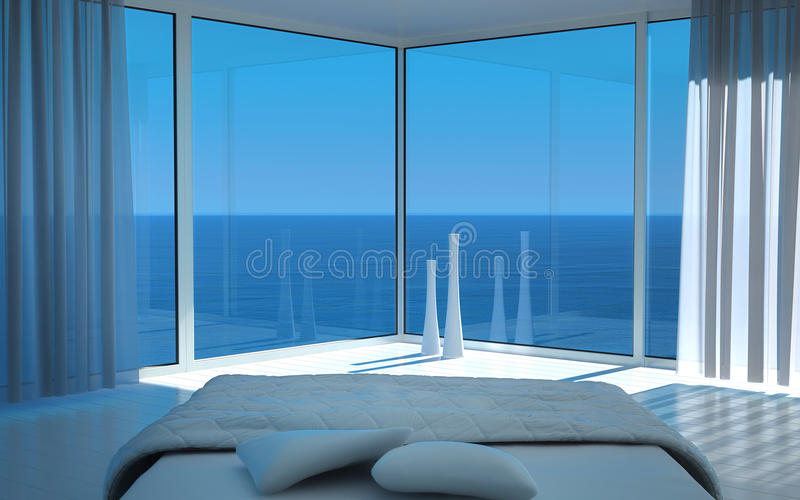 Modern sunny bedroom interior with fantastic seascape view. A 3d rendering of sunny bedroom interior with seascape view stock photo