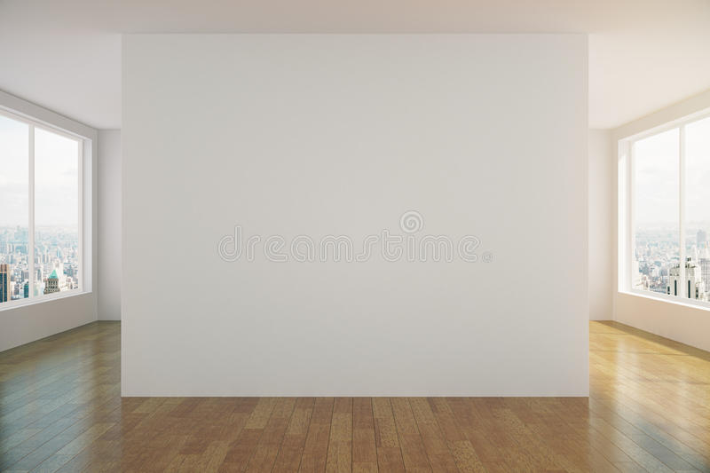 Modern sunny empty loft room with white wall and wooden floor stock illustration