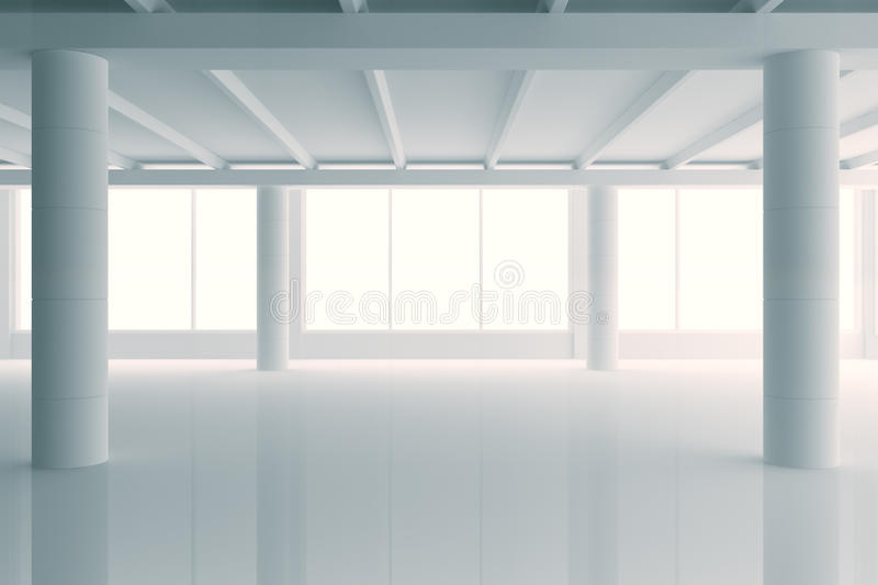 Modern sunny white style open space office with big windows and stock illustration
