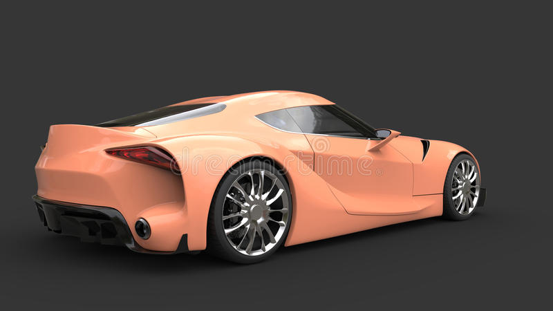 Modern super sports car - light salmon color - tail view. Isolated on dark background vector illustration