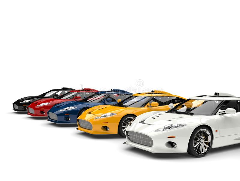 Modern super sports cars in all primary colors stock illustration
