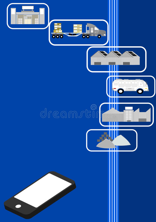 Modern Supply chain management (SCM). Management of the flow of goods and services. It includes the movement and storage of raw materials, work-in-process vector illustration