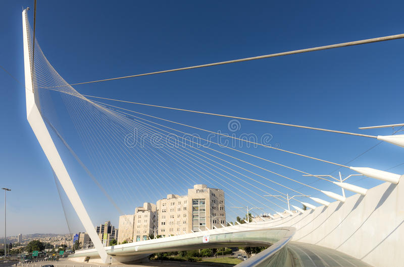 Modern suspension bridge tram Harp of David in Jerusalem. Against the clear sky royalty free stock photo