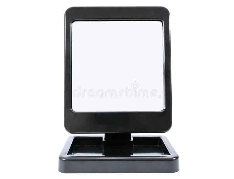 Modern svart plast- rammakeupspegel som isoleras p? vit Isolerad plast- kosmetisk spegel arkivbilder