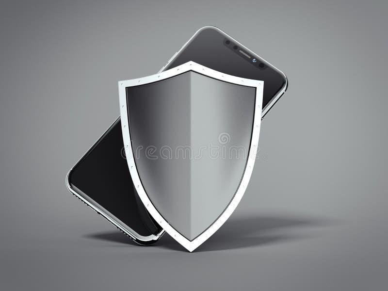 Modern svart smartphone med skölden framförande 3d royaltyfri illustrationer