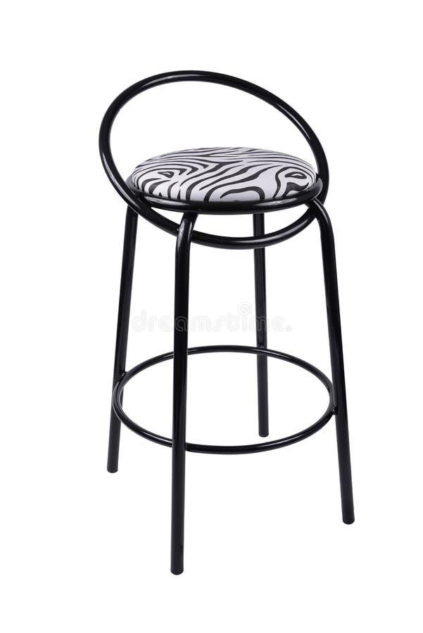 Modern svart stol som isoleras på vit bakgrund Sebraplats royaltyfri bild