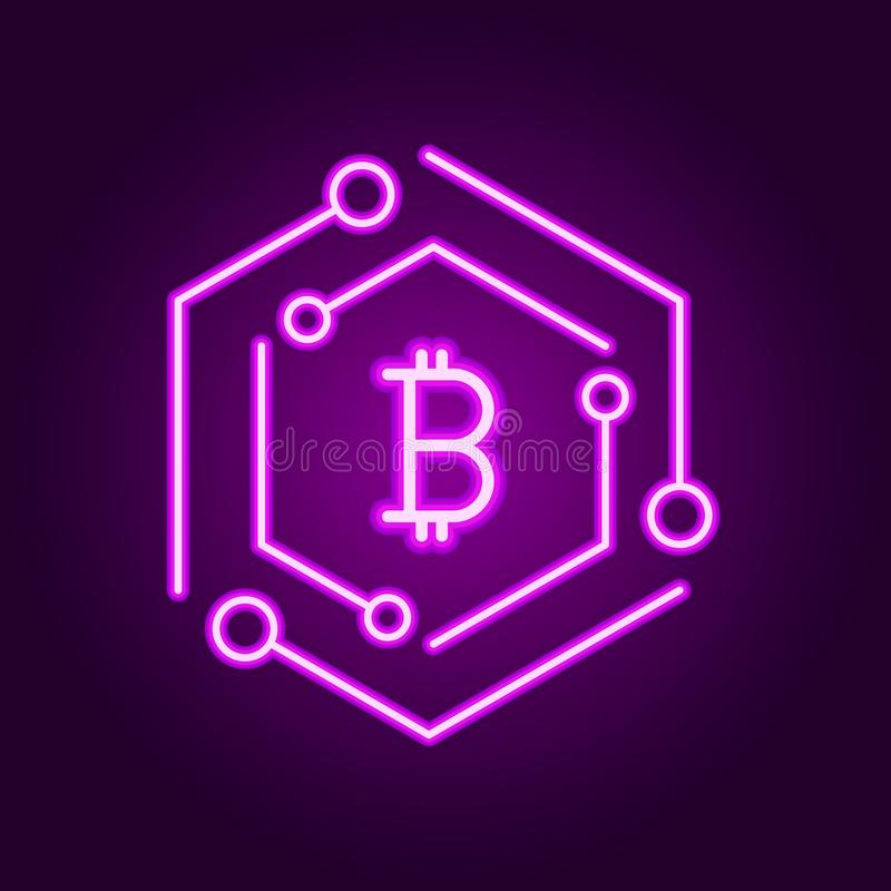 Modern symbol f?r Blockchain teknologi Symbol f?r vektorkvarterkedja eller logobest?ndsdel i neonlinjen stil royaltyfri illustrationer