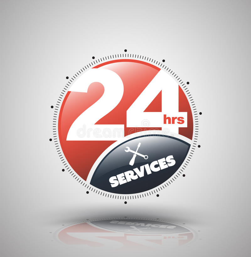 Modern symbol 24 timmar service Vektorillustration för ständig service stock illustrationer