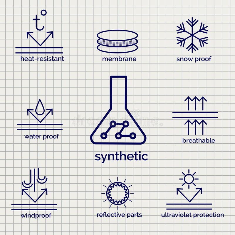 Modern syntetic fabric feature sketch icons. Modern syntetic fabric feature sketch ball pen icons on notebook page background. Vector illustration stock illustration