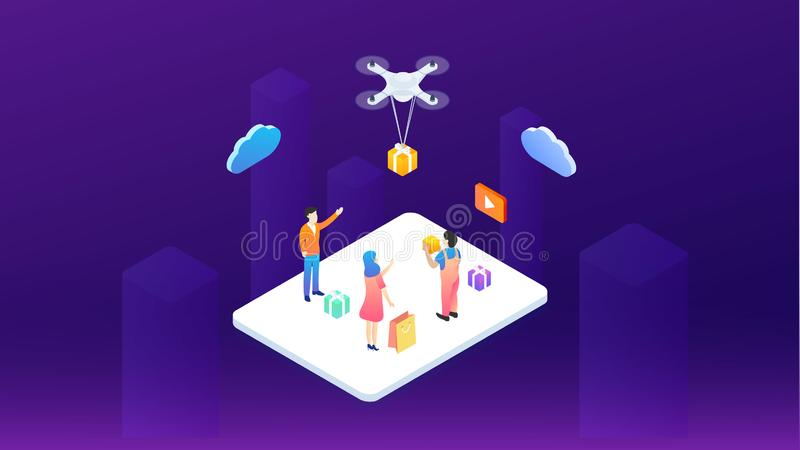 The modern system is logistic. A man with a wireless remote control the cargo copter. Fast shipping. Modern vector illustration stock illustration