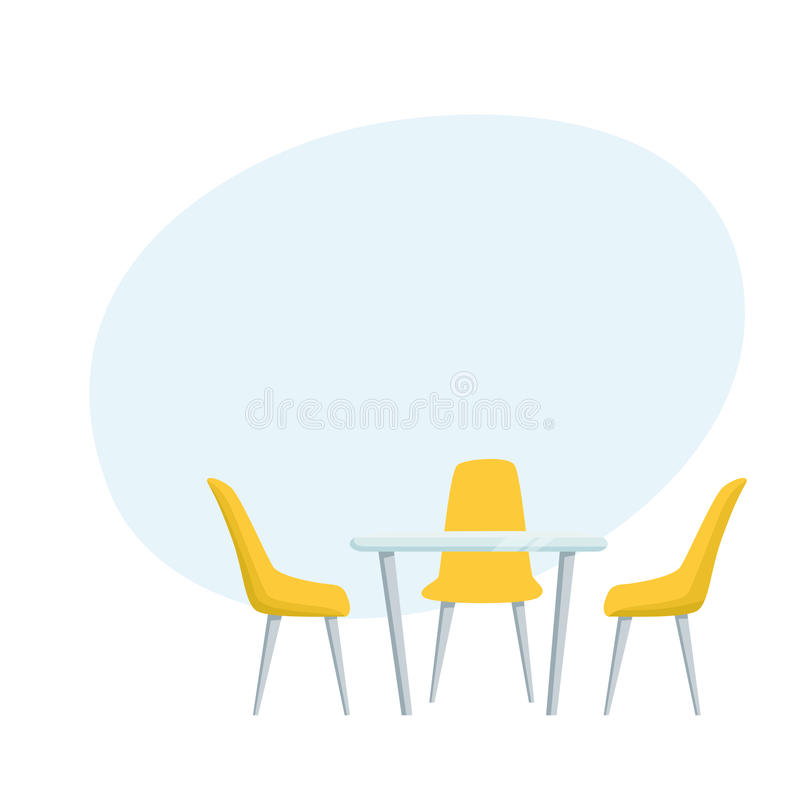 Modern table and chairs. Furniture for office, cafe, restaurant, home kitchen interior scene design stock illustration