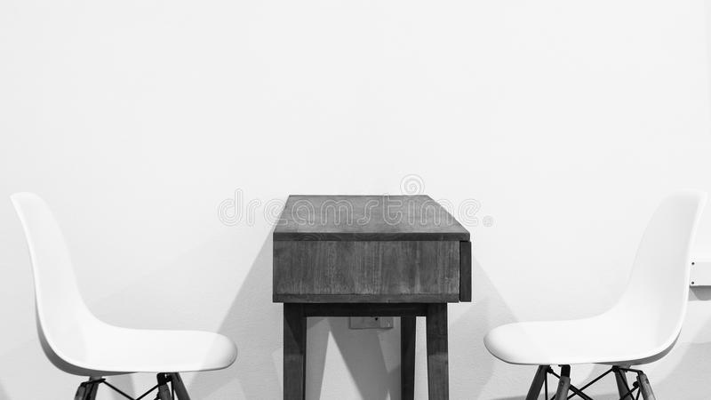 Modern table and chairs furniture for office. Cafe, restaurant, home kitchen interior scene design. Living room royalty free stock photo