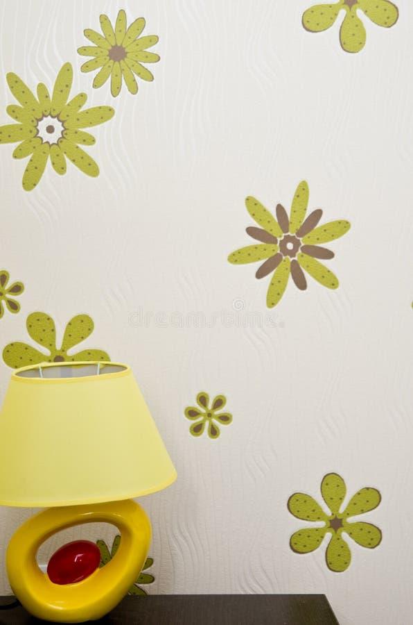 Modern Table Lamp and Flower Wallpaper
