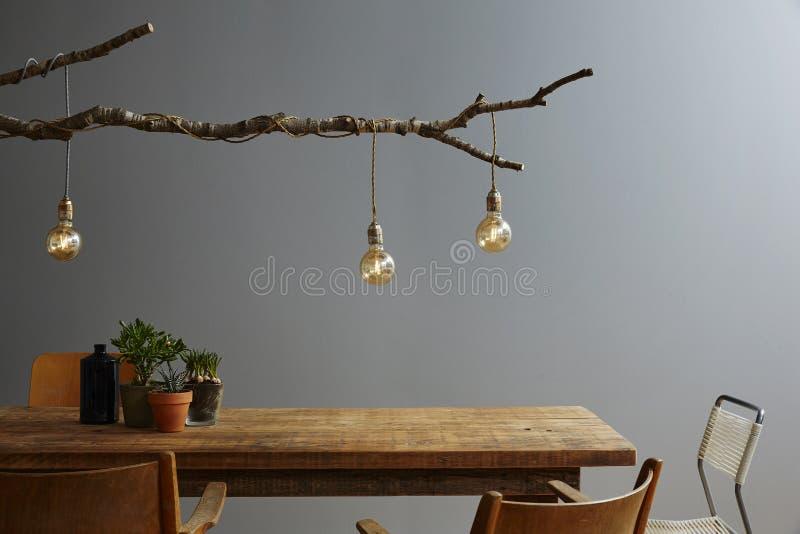 Modern table scene restaurant urban style stock photos