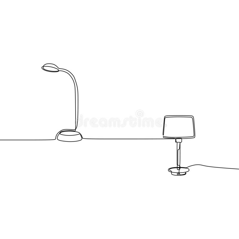 Modern table standing student lamp one line Lamp icon set. Outline set of lamp vector icons for web design isolated on white. Background watt power innovation vector illustration