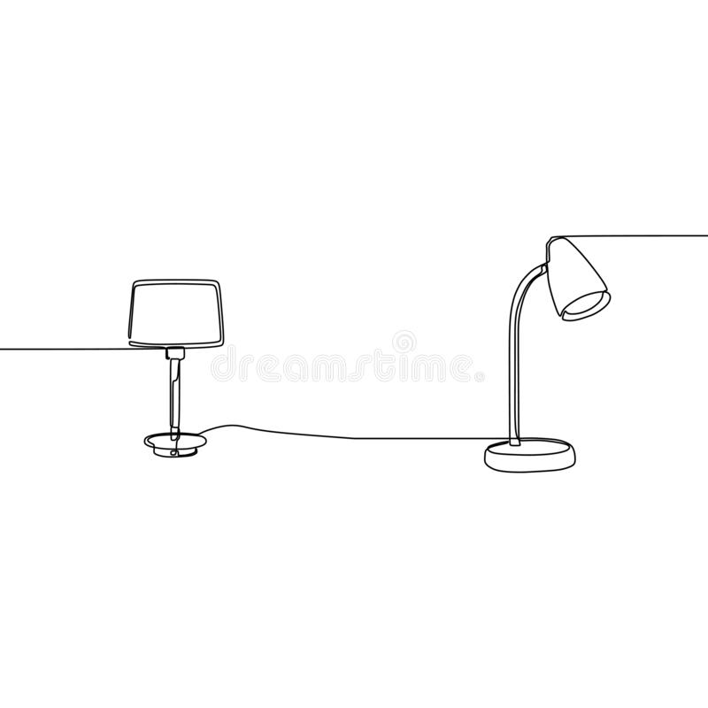 Modern table student lamp one line Lamp icon set. Outline set of lamp vector icons for web design isolated on white background. Watt power innovation electric stock illustration