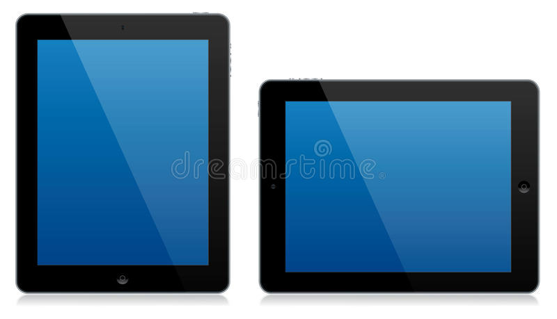 Modern tablet computer landscape and portrait isolated vector illustration