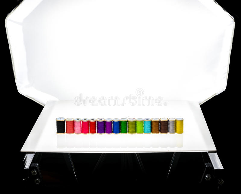 Modern tabletop photo studio for product photography. stock images