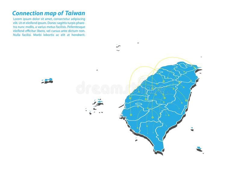 Modern of taiwan Map connections network design, Best Internet Concept of taiwan map business from concepts series. Map point and line composition. Infographic stock illustration