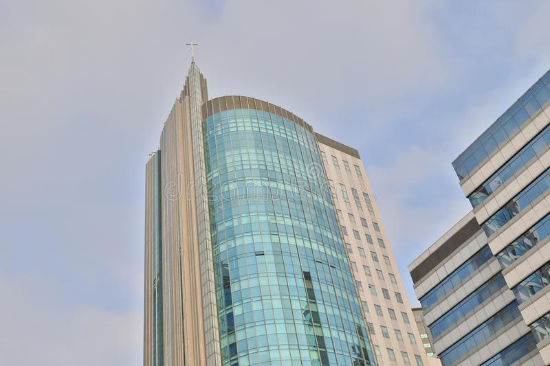 A modern of tall glass building of church. The modern of tall glass building of church royalty free stock images
