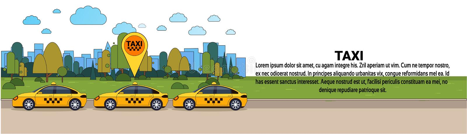 Modern Taxi Car With Gps Location Sign Online Cab Order Service Concept Horizontal Banner. Flat Vector Illustration vector illustration