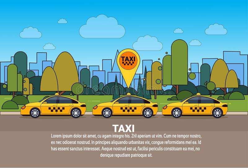 Modern Taxi Car With Gps Location Sign Online Cab Order Service Concept. Flat Vector Illustration vector illustration