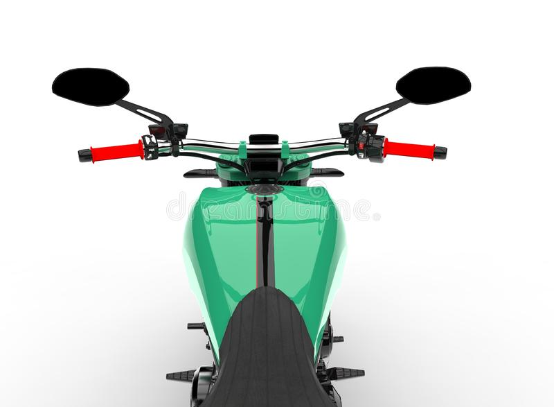 Modern teal bike - riders point of view. Isolated on white background vector illustration