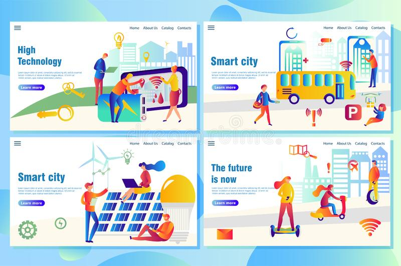 Modern technological smart city web landing page concept, with people using high-tech devices. To find necessary data stock illustration
