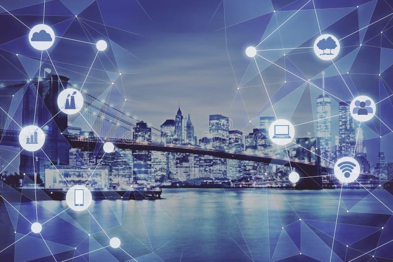 Modern technologie-stadsbehang royalty-vrije stock afbeelding
