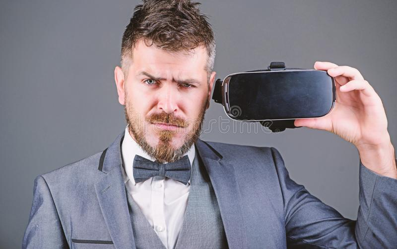Modern technologies. businessman in VR headset. Visual reality. Digital future and innovation. use future technology. Virtual reality goggles. Modern business stock photography