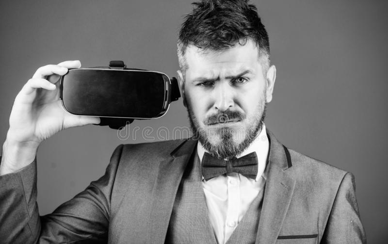 Modern technologies. businessman in VR headset. Visual reality. Digital future and innovation. use future technology. Virtual reality goggles. Modern business royalty free stock image