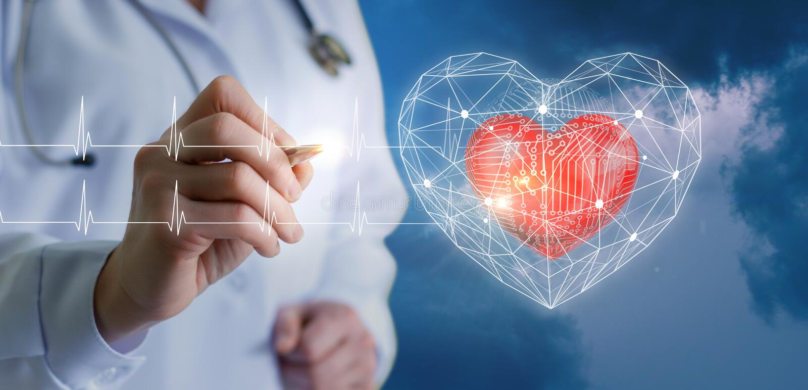 Modern technologies of diagnostics of the heart. royalty free stock photos