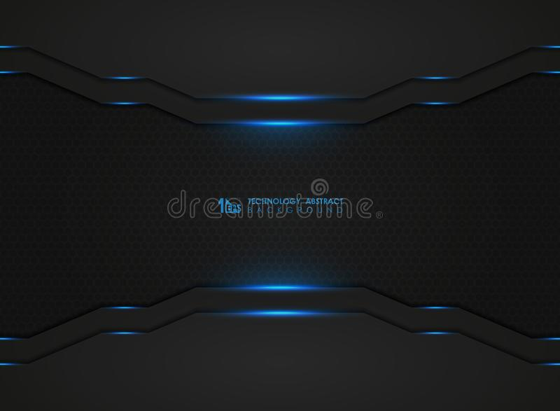 Modern technology dark hexagonal pattern with blue lasers cover background. illustration vector eps10. Modern technology dark hexagonal pattern with blue lasers vector illustration