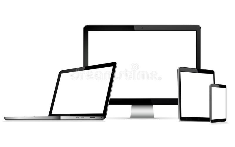 Modern technology devices - computer monitor, laptop, digital tablet and mobile phone with blank screen royalty free illustration