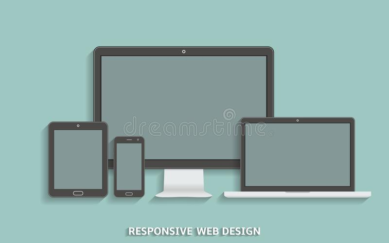 Modern technology devices template for responsive design presentation royalty free illustration