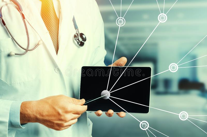 Augmented Reality In Healthcare And Medicine. Doctor Using Digital Tablet In Consultation With Patient stock illustration