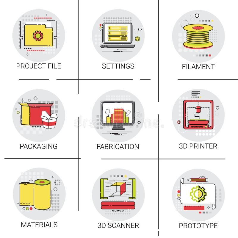 Modern Technology Project-Datei-Industrie-Produktions-Ikonen-Satz des Drucker-3d stock abbildung