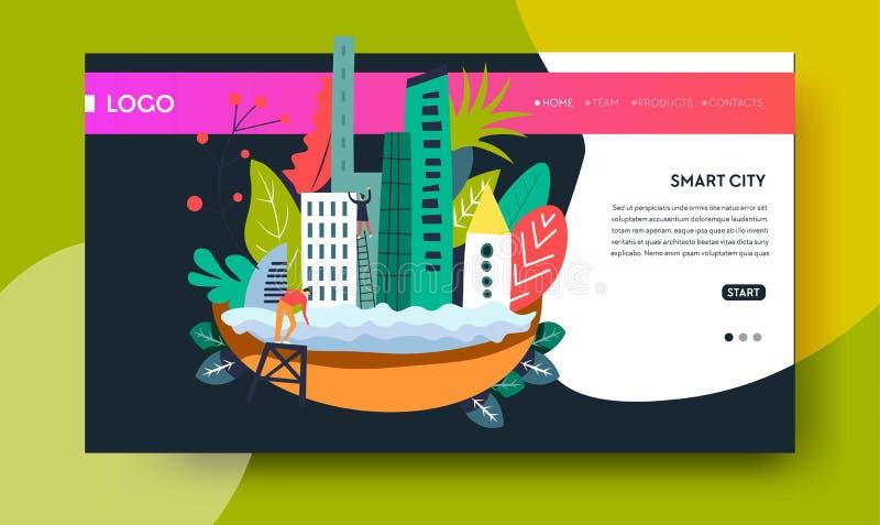 Smart city modern technology online web page template stock illustration