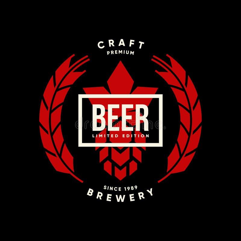 Modern tecken för logo för vektor för hantverköl drink isolerat för bryggeri, bar, brewhouse eller stång royaltyfri illustrationer