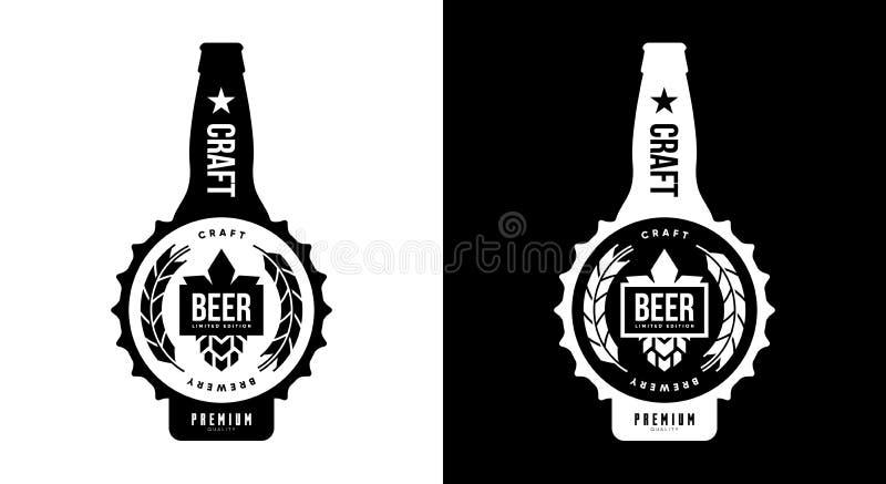 Modern tecken för logo för vektor för hantverköl som drink isolerat brännmärker för bryggeri, bar, brewhouse eller stång royaltyfri illustrationer