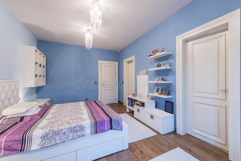 Modern teenage bedroom interior stock photography