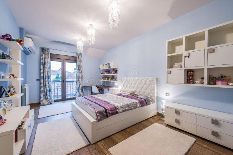 Modern teenage bedroom interior royalty free stock photos